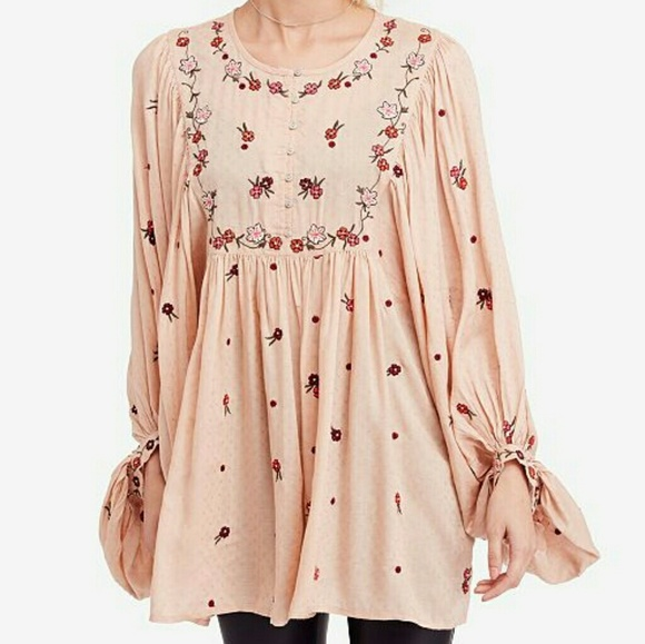 b04894df180 Free People Tops | Kiss From A Rose Embroidered Tunic | Poshmark